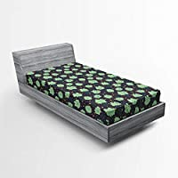 Ambesonne Doodle Fitted Sheet, Childish Lovely Smiling Clouds Raindrops Weather Station Cartoon, Soft Decorative Fabric Bedding All-Round Elastic Pocket, Twin Size, Dark Blue Grey Almond Green