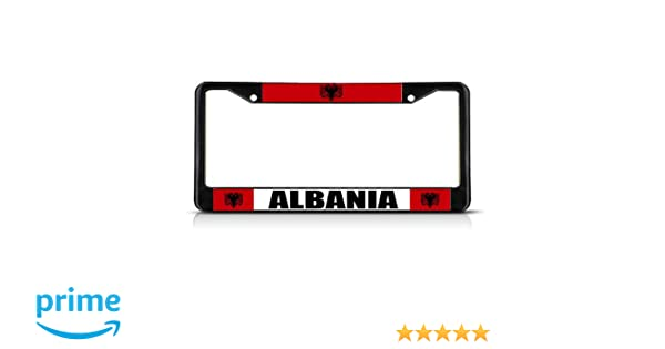 Albania With A Flag METAL Black License Plate Frame Tag Holder License Plate Covers Albanian