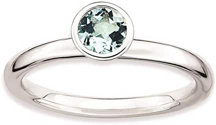 925 Sterling Silver Rhodium-plated Polished High 5mm Round Aquamarine Ring