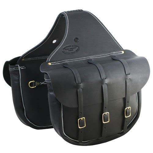 - Outfitters Supply Cavalry Style Leather Horse Saddlebags, Handmade in Montana, for Western Saddles, Three Buckles (Full Size), Perfect for Trail Riding Or Around The Ranch - (Black)