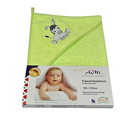 ASMI® XL de toalla Baby 100 x 100 cm Donkey/Burro con capucha Retrogrün: Amazon.es: Bebé