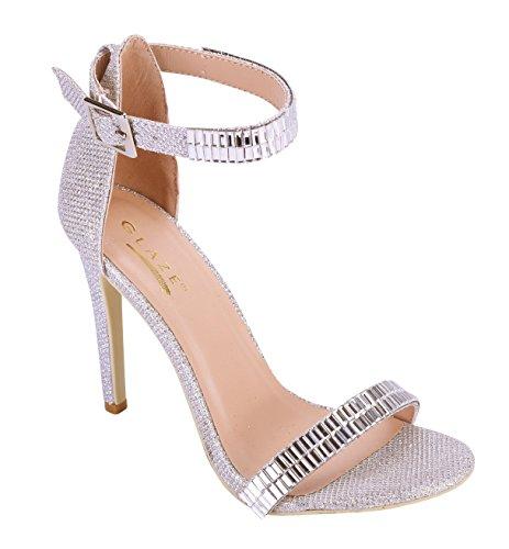 Strappy Strap Jewel Heels Glaze Sandals High Dress Toe Silver Stiletto Heel Open Plated Women's Ankle 00x7qwZ