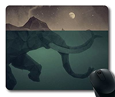Custom Gaming Mouse Pad with Wallpaper Elephant Illust Sea Swim Art Non-Slip Neoprene Rubber Standard Size 9 Inch(220mm) X 7 Inch(180mm) X 1/8 Inch(3mm) Desktop Mousepad Laptop Mousepads Comfortable Computer Mouse Mat