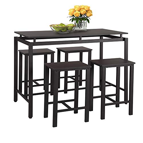 Mooseng 5 Pieces Dining Table Set, Bar Pub Table Set,Home Kitchen Breakfast Table, Bar Table with 4 Bar Stools,Kitchen Counter with Bar Chairs