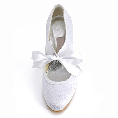 Minishion Womens Round Toe High Heel Ribbon Mary Jane Lace Bridal Wedding Shoes Pumps Lace/White-9cm Heel TT9zcrq6ch
