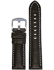 26mm Panatime Choco Radiomir Style Genuine Leather Watch Band with Gator Print and White Stitching 125/75 26/22