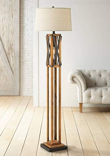 Yardley Rustic Farmhouse Floor Lamp with Nightlight LED Edison Style Bulb Aged Walnut and Textured Gunmetal Drum Shade for Living Room Reading Bedroom Office - Franklin Iron Works