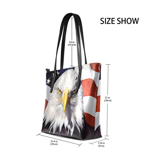Totes Bags Fashion Top Leather Shoulder American Eagle and Purses Women's Handbag TIZORAX Flag Handle PU SOx0Bq7w