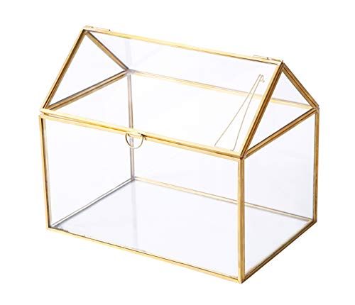 House Shape Close Glass Geometric Terrariumn Tabletop Succulent Plant Garden Geo Planter Moss Fern Swing Lid Reptile, Flower Pot for Plants Succulent, Air Plant (Gold)