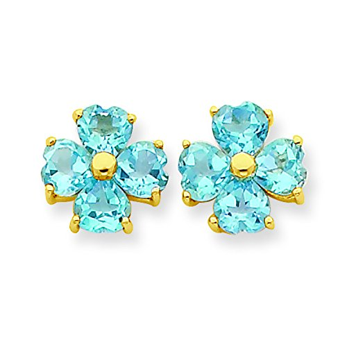 (14K Yellow Gold Blue-Topaz Heart-Shaped Flower Stud Earrings)