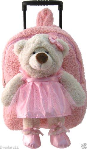Kreative Kids Plush Pink Ballerina Rolling Trolley Backpack