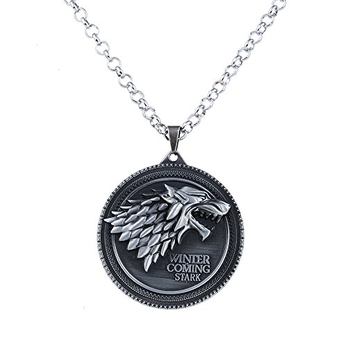 LUREME Vintage Round Shape Wolf Pendant Necklace for Fans Costume Jewelry-Antique Silver (nl005380-1)