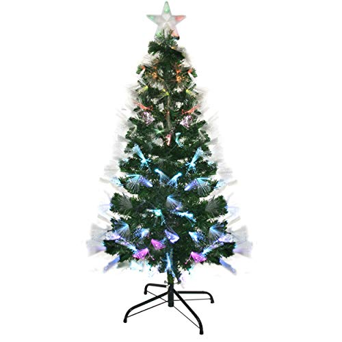 Holiday Essence Artificial Christmas Tree with Fiber Optic Prelit LED Lights, 5 Feet Tall, 155 Multi Color Lights, Solid Metal Stand, with Flashing Star Tree Topper
