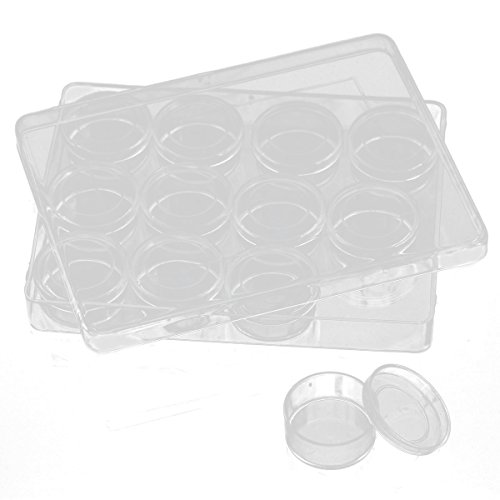 12pcs Round Mini Container Box Jewelry Findings Display