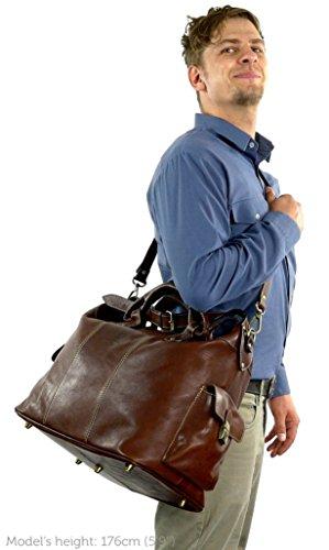 """da Gusti 2R3 classico marrone 20 settimana viaggio 14 Leder sport elegante """"Lennox"""" per stile studio fine borsa xrqIw6p4r"""