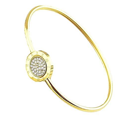 (Baoliren Round Base Roman Numeral Bracelet Bangle Zirconia for Women)