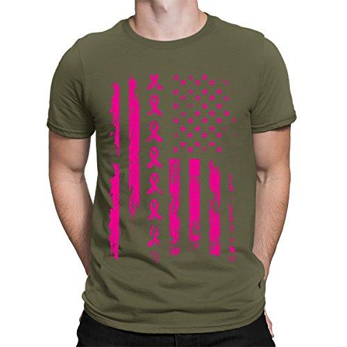 Pink Ribbon Green T-shirt (Pink Ribbon American Flag Breast Cancer Awareness Men's T-Shirt, SpiritForged Apparel, Moss Small)