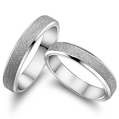 Epinki, 18k White Gold Plated Fashion Jewelry Rings Grind Arenaceous Lovers Rings Size 8