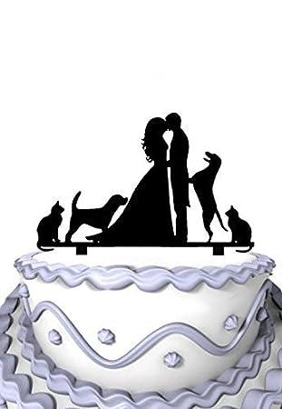 Los amantes de los besándose dos perros & gatos decoración para tarta para boda novia y