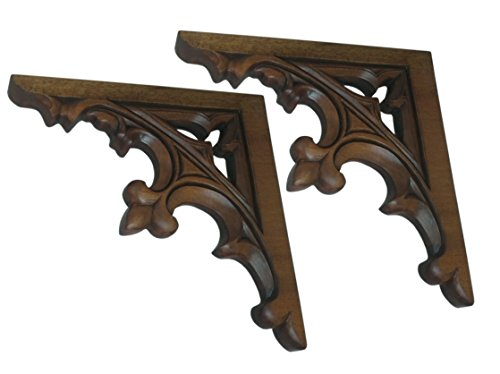 Gothic Style Wooden Architectural Brackets or Corbels Set of 2