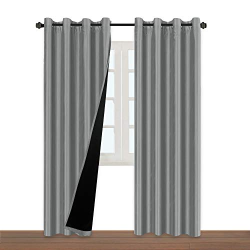 - H.VERSAILTEX 100% Blackout Thermal Insulated Extra Long Grey Curtains Faux Silk Lined Curtain Panels Window Treatment Nickel Grommet Panel Draperies for Living Room/Patio Door(52x108 Inch - Set of 2)