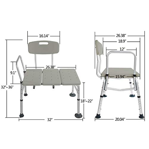 Shower Chair Bath Chair Seat Bench with Arms and Backs,Heavey Duty 330 lbs Handicap Shower Chair 3 Blow Molding Plates Aluminium Alloy 10 Height Adjustable Baby Bathtub Lift Chair for Seniors Elderly ()