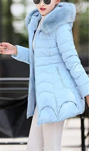 Collo Pelliccia Mantello Invernali Donne Cappuccio Donna Stile Slim Manica Cerniera Tasche Lunga Modern Blau Di Laterali Con Monocromo Cappotto Piumini Fit Coat Classiche rqr8Yw
