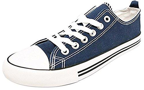 -Shop Pretty Girl Damen Turnschuhe Casual Leinwand Schuhe Solide Farben Low Top Lace Up Flache Mode 2,0 Navy blau