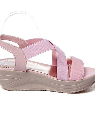 Beige Toe Pink Women's Pink Sandals Open Leatherette Shoes ShangYi Blue Casual Platform xpZwXvzdq
