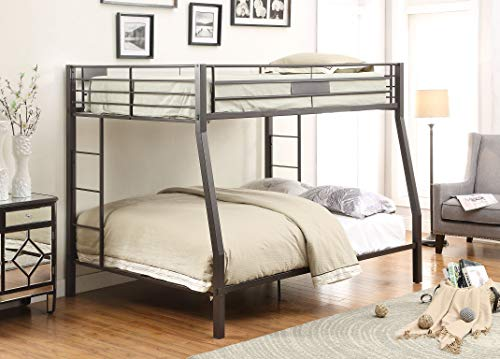 Bunk Full Bed - ACME Limbra Black Sand Full over Queen Bunk Bed