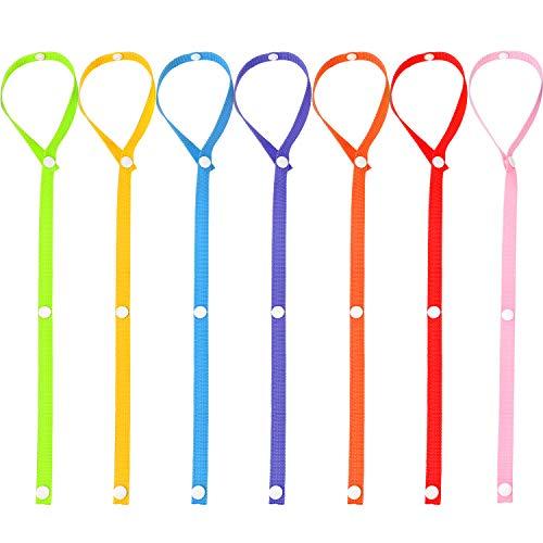 Gejoy 7 Pieces Toys Straps Toy Anti-Drop Belt Snap Fastener Adjustable Toy Holder, 7 Colors