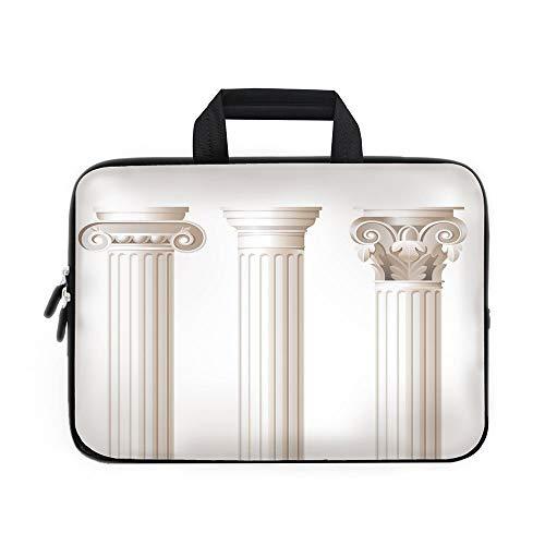 Pillar Decor Laptop Carrying Bag Sleeve,Neoprene Sleeve Case/Architecture Theme Design Ionic Doric and Corinthian Marble Columns Digital Print/for Apple MacBook Air Samsung Google Acer HP DELL Lenovo