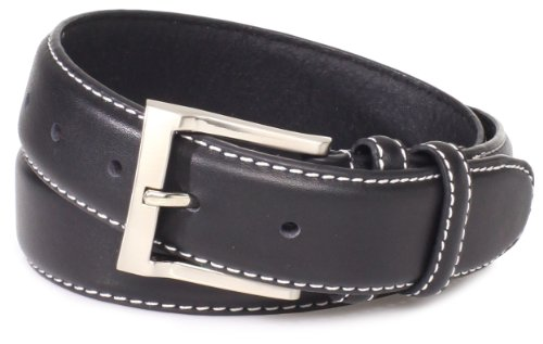 Florsheim Men's Casual Full Grain Leather Belt with Contrast Stitched Edge, Black, (Black Leather Edge Stitched Belt)