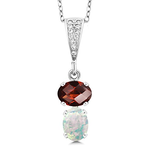 Gem Stone King 2.52 Ct Oval Checkerboard Red Garnet White Simulated Opal 925 Sterling Silver Pendant