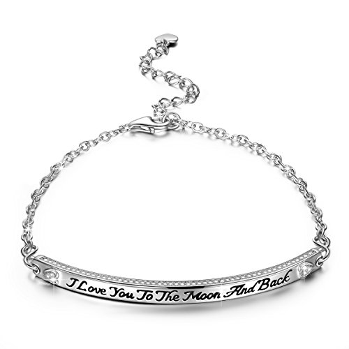 NINASUN Women Bracelet 925 Sterling Silver Adjustable Chain Bangle I Love You Engraved Fine Fashion Costume Jewelry Birthday Romantic Gifts Present Her Lady Girls Girlfriend Wife Sister Mom Mother