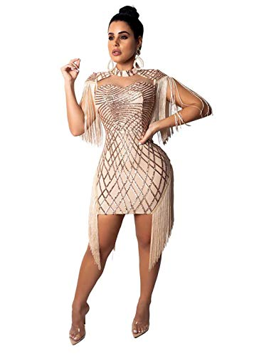 FLourishing Womens Dresses Mini Dress Sequin Tassels Bodycon Sexy Party Night Dress Clubwear(Apricot,Medium) from FLourishing