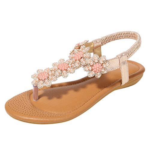 ♡QueenBB♡ Women Sandals Flats,Summer Girls Sandals Bohemian Rhinestone,Beach T-Strap Elastic Flip-Flops Pink