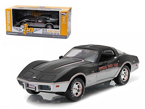 New 1:24 W/B INDY 500 100TH RUNNING - BLACK 1978 CHEVROLET CORVETTE PACE CAR Diecast Model Car By Greenlight