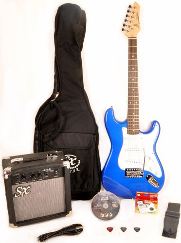 New Left Handed 3/4 Size Electric Guitar Package Blue with Amp, Strap, and Carry Bag RST 3/4 EB Short Scale Blue Guitar Pack