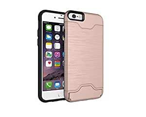 Winhoo iPhone 6/6s Plus Case,Brushed Metal Design Slim Hybrid PC+TPU Case With Hidden Credit Card Slot,Shockproof Protective Kickstand Case for Apple iPhone (Rose gold for iPhone 6/6s Plus 5.5 inch)