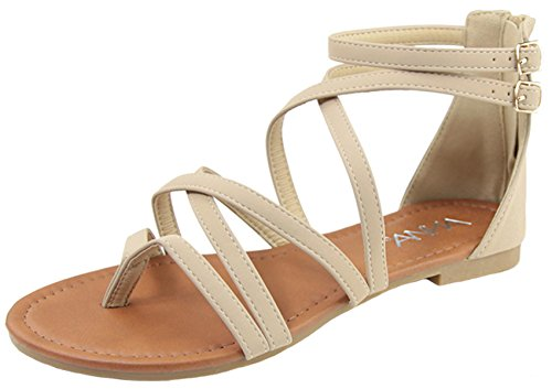 Anna Shoes Women's Strappy Buckle Accent Zip Heel Flat Sandal (8 B(M) US, Beige)