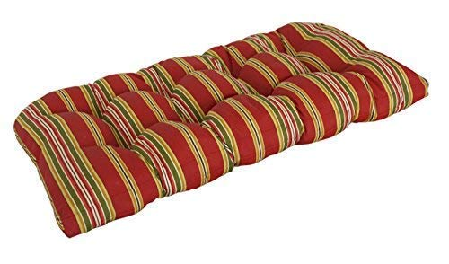 Bravada Seat - SewKer] Indoor/Outdoor Wicker Loveseat Bench Cushion Stylish Bravada Salsa 3613
