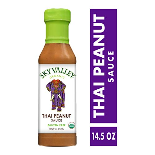(Sky Valley Foods Thai Peanut Sauce; 14.5-oz. Bottle; Sweet, Creamy and Tangy Taste with the Finest Thai Peanuts, Certified Organic, Non-GMO, Gluten-Free, Vegan Ingredients Blend into a Peanuty)