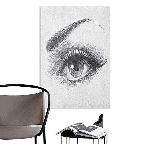 Decals for Home Room Decoration Eye Pencil Drawing Artwork of a Staring Female Eye with Long Lashes and a Curvy Eyebrow Grey White Large Removable Decals W8 x -