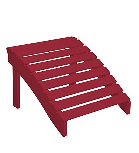 Painted Adirondack Footrest - Wooden Adirondack Ottoman - Red Paint 20 W x 22 D x 14 .25 H