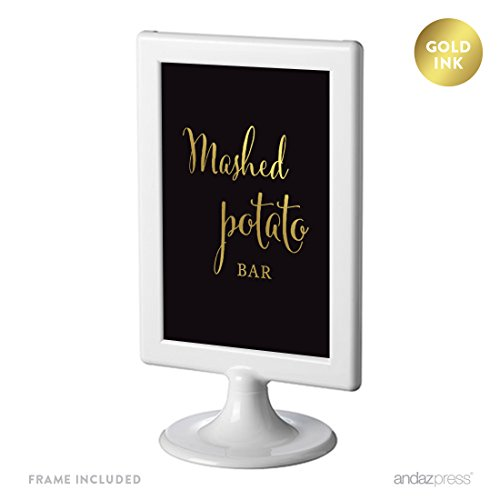 (Andaz Press Wedding Framed Party Signs, Black and Metallic Gold Ink, 4x6-inch, Mashed Potato Bar Please Enjoy Reception Dessert Table Sign, Double-Sided, 1-Pack, Includes Frame)