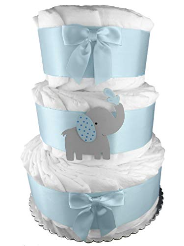 Elephant 3-Tier Diaper Cake - Baby Shower Gift - Blue and Gray from Sunshine Diaper Cakes