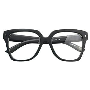 Retro Nerd Geek Oversized Eye Glasses Horn Rim Framed Clear Lens Spectacles (MATT BLACK 90214)
