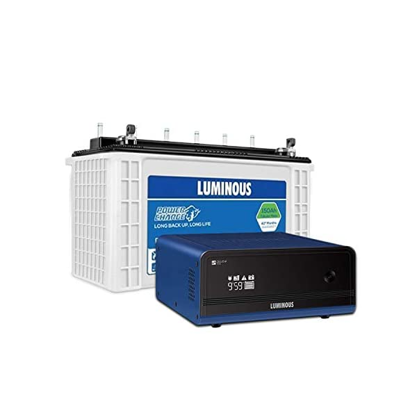 Luminous Zelio+ 1100 Pure Sine Wave Inverter with Power Charge 18042TJ 150 Ah Tall Tubular Plate Inverter Battery for… 2021 June [Inverter] type: pure sine wave; capacity: 900 va; maximum bulb load: 756 watts; recommended inverter battery capacity: single battery of 80 ah - 150ah Display: inverter battery performance statistics like back up time, charging time, mode selector, fault indicators on a compact lcd screen Dimensions (lxwxh): 27.5cm x 24.8cm x 12cm