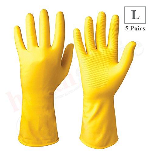 Healthgenie Flocklined Household Multi-Purpose Glove, Large (5 Pairs) …
